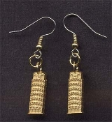 LEANING TOWER OF PISA EARRINGS - Vintage Stamped Pressed Brass Charm Jewelry