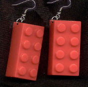 LEGO BRICK EARRINGS - HUGE Retro Building Block Toy Kitsch Charm Jewelry - RED