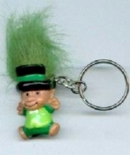 Mini collectible TROLL DOLL LEPRECHAUN KEYCHAIN - Big retro funky punk St Patrick's Day holiday novelty costume jewelry - KELLY GREEN Hair - Miniature vintage Irish lucky charm toy gnome, on metal key ring.