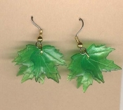MAPLE LEAF LEAVES EARRINGS - Spring Summer Tree Emerald Spring GREEN