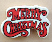 Wood MERRY CHRISTMAS PIN BROOCH - Painted Crafts Xmas Button Jewelry