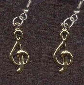 TREBLE CLEF EARRINGS - Music Teacher Musical Note Musician Singer Jewelry - GOLD
