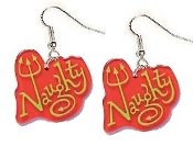 NAUGHTY EARRINGS - Big Funky Diva Attitude Biker Chick Charm Jewelry