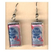Funky Mini PABST BLUE RIBBON BEER CANS EARRINGS - Waitress Bartender Punk Food Sports Bar Drink Charm Costume Jewelry - Miniature Metallic Paper-covered, Plastic Dimensional BEER CAN charms