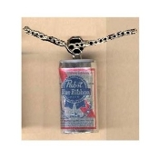 Funky Mini PABST BLUE RIBBON BEER CAN PENDANT NECKLACE - Cocktail Waitress Waiter Bartender Punk Food Sports Bar Drink Charm Costume Jewelry - Miniature Metallic Paper-covered, Plastic Dimensional BEER CAN charm