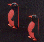 Cute Red & Black PENGUIN BUTTON POST EARRINGS - Eskimo Igloo North Pole Santa Bird Jewelry