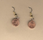 PENNY EARRINGS - Authentic-look, Miniature Money - Lucky Coin Collector Charm - Luck Jewelry - Tiny Pennies, just for fun!