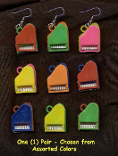 PIANO BABY GRAND TOY EARRINGS - Vintage Musical Keyboard Instrument Novelty Vending Gumball Charm Jewelry - 1-PR
