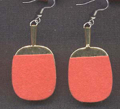 Miniature Brass PING PONG PADDLE EARRINGS - Red Game Charm Jewelry