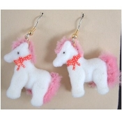 HUGE Funky FUZZY PONY EARRINGS - My Little Toy Horse Costume Jewelry - White Body with PINK Mane and Tail. Big Flocked plastic mini figure toy charm. For equestrian and cartoon character lovers alike!