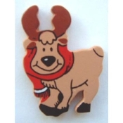 "REINDEER MOOSE Rudolph with Scarf BUTTON PIN BROOCH - PAINTED Wood Christmas Gift Jewelry - Approx. 1-5/8"" Tall on metal pin back with safety clasp."