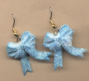 Funky RIBBON BOW EARRINGS - Award Winner Novelty Charm Costume Jewelry - Pretty Sparkle Sky BABY BLUE - Glitter Frosted Charms, approx. 1-inch (2.5cm) diameter.