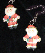 Miniature Resin SANTA CLAUS EARRINGS - Two-Faced Christmas Holiday Costume Jewelry