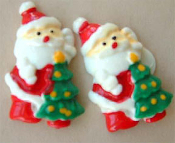 Big SANTA CLAUS TREE BUTTON POST EARRINGS - Christmas Holiday Costume Jewelry
