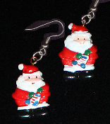 Cute Miniature Resin SANTA CLAUS EARRINGS - Christmas Holiday Charm Costume Jewelry #2