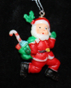SANTA PENDANT NECKLACE-Jogger Runner Holiday Charm Funky Jewelry