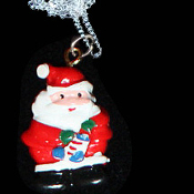 SANTA PENDANT NECKLACE-Resin Christmas Charm Novelty Jewelry-#2