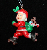 SANTA PENDANT NECKLACE-Roller Skater Holiday Charm Funky Jewelry