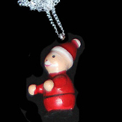 SANTA PENDANT NECKLACE-Vintage Wood 3d Christmas Holiday Jewelry