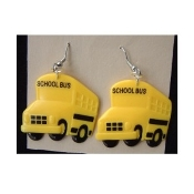 Big Yellow SCHOOL BUS EARRINGS - Driver Gift - Crossing Guard Novelty Costume Jewelry - HUGE plastic charm, approx. 1.5-inch (3.75cm) Diameter. Discover Wildlife. Become a School Bus Driver!