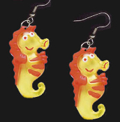 Funky HAPPY SEAHORSE EARRINGS - Big Scuba Diver Ocean Charm Jewelry