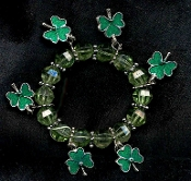 SHAMROCK CHARM STRETCH BEADED BRACELET - Irish St Patrick's Day Novelty Ireland Jewelry