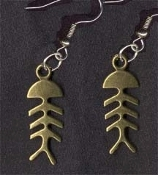 FISH SKELETON EARRINGS - Gold-tone Pewter Fishing Charm Jewelry