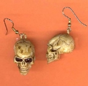 Realistic SKULL EARRINGS - Headhunter Witch Doctor Halloween Pirate Charm Jewelry
