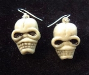 Funky Creepy Severed Walking Dead ZOMBIE HEAD SKELETON SKULL EARRINGS - Cannibal Headhunter, Pirate, Gothic, Wicca, Witch Doctor, Grim Reaper, Monster, Ghoul, Cosplay Halloween Costume Jewelry - Detailed, dimensional plastic weird ghoulish charms
