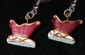 Mini Red SLEIGH EARRINGS - Santa Presents Holiday Christmas Charm Jewelry -C