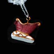 SLEIGH NECKLACE-Red Santa Gift Holiday Christmas Charm Jewelry-C