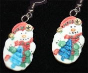 Dimensional Resin SNOWMAN EARRINGS - Christmas Charm Jewelry