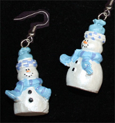 Dimensional SNOWMAN EARRINGS -B- Pearlescent Christmas Charm Jewelry