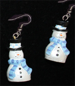 Dimensional SNOWMAN EARRINGS -F- Pearlescent Christmas Charm Jewelry