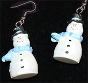 Dimensional SNOWMAN EARRINGS -G- Pearlescent Christmas Charm Jewelry