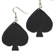HUGE Lucky Charm Black SPADE PLAYING CARD SUIT EARRINGS - BlackJack Poker Luck Jewelry