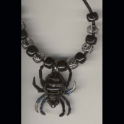 SPIDER BELL PENDANT NECKLACE AMULET-Gothic Witch Funky Jewelry