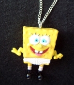 Funky Rare SPONGEBOB UNDERPANTS PENDANT NECKLACE - Big Funny Sponge Bob wearing TIDY WHITEY / TIGHTY WHITIES Under Pants Mini Figure Cartoon Comics Character Miniature Novelty rubbery plastic toy charm Costume Jewelry.