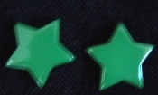 Star Button Post Earrings - Green