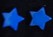 Star Button Post Earrings - Blue