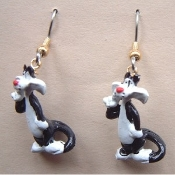 Funky Mini Figure SYLVESTER CAT EARRINGS - Tweety Bird Friend Looney Tunes Novelty Costume Jewelry - Favorite funny classic cartoon comics character animal theme dangle charm fully dimensional figurine.