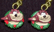 Funky Mini TAZ TASMANIAN DEVIL HOLLY WREATH EARRINGS Christmas Holiday Costume Jewelry - Miniature Looney Tunes Xmas button dangle ornament - Warner Bros Luney Toons licensed cartoon comics character painted resin charm.
