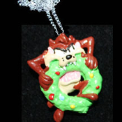Funky Mini Crazy TAZ BITING WREATH PENDANT NECKLACE - Looney Tunes Christmas Holiday Novelty Costume Jewelry - Xmas Tasmanian Devil cartoon comics character dangle charm - Warner Bros Luney Toons licensed miniature resin ornament.