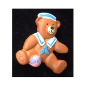 TEDDY BEAR BOY PIN / BROOCH in Sailor Suit & Hat, with a toy beach ball! - Resin. Great baby shower gift for new Mom or Grandmother!!!