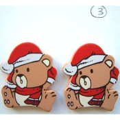 Cute TEDDY BEAR SANTA HAT BUTTON EARRINGS - Big Painted Wood Christmas Holiday Jewelry