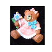 Cute Funky TEDDY BEAR GIRL PIN BROOCH with Adorable PINK DRESS and Baby Blue Bow, grasping a sucker lollipop treat! Resin Charm approx. 1-5/8-inch (4.06cm) diameter. Great shower gift for new Mom or Grandmother!