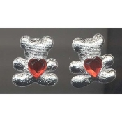 TEDDY HEART Rhinestone Post EARRINGS - Best Friend Jewelry - Puffy SILVER metallic fabric with Red Rhinestone Heart