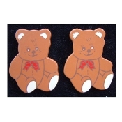 Cute Funky Huge TEDDY BEAR with Red Bow BUTTON STUD EARRINGS - Holiday Country style Painted Wooden Novelty Costume Jewelry - Approx. 1-5/8-inch (4.06cm) tall.