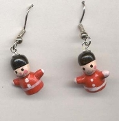 Funky Mini Wooden TOY SOLDIERS EARRINGS - Tiny 3-d Classic Nutcracker Christmas Holiday Novelty Costume Jewelry - Red Hand Painted dimensional wood figure charms, approx. 1/2-inch (1.25cm) tall.