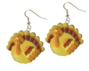 Adorable CUTE TURKEY EARRINGS - Thanksgiving Holiday Charm Jewelry
